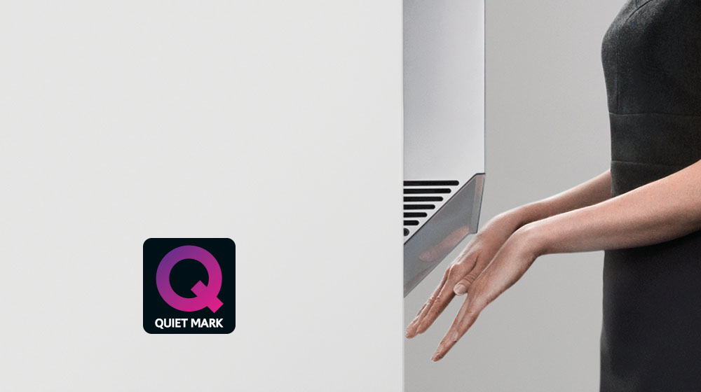 the noise abatement society tested and approved the decibel levels and sound quality of the dyson airblade v hand dryer awarding it the quiet mark - Dyson Airblade V